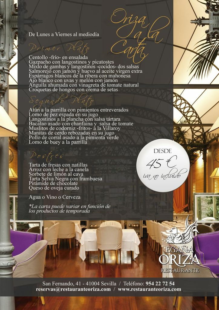 Menú diario en Restaurante Oriza